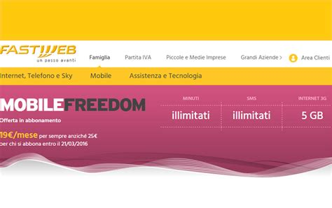 mobile freedom fastweb fastweb offre mobile freedom in sconto a 19 al mese