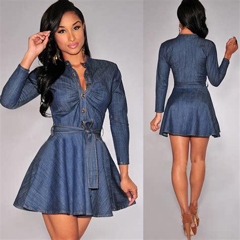 Look Wear Buttons by Autumn Winter Denim Dress Chic Button Belted