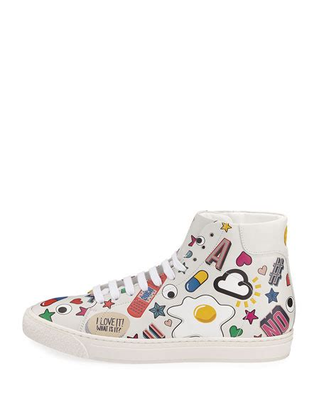 sneaker stickers anya hindmarch stickers leather high top sneaker white