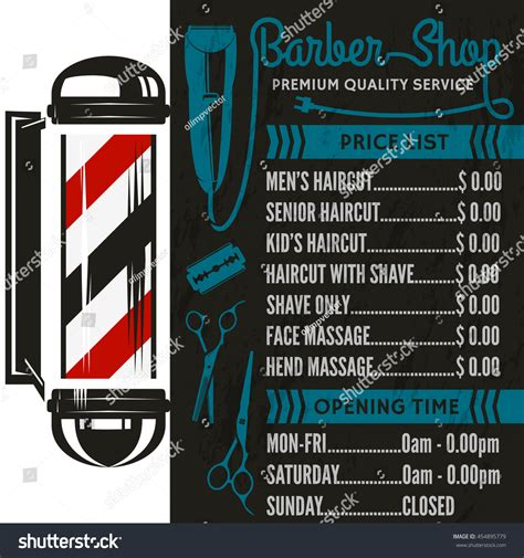 barber shop vector price list template stock vector