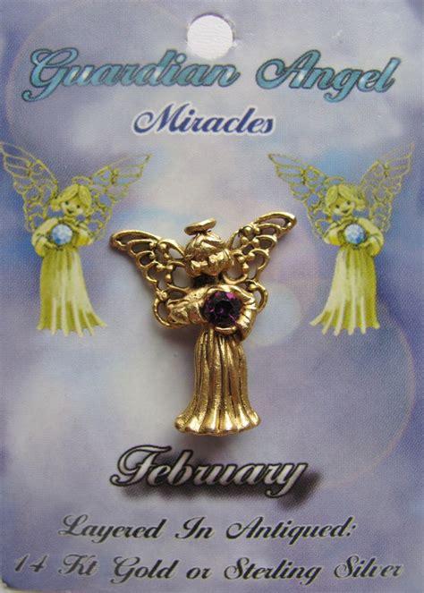 Guardian Pins Vintage Gold Amethyst February Birthstone Guardian