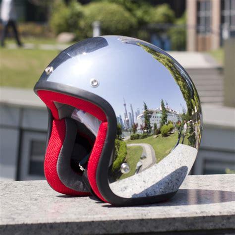 Motorradhelme Vespa by Mirror Silver Chrome Vespa Open Face Motorcycle Motorbike