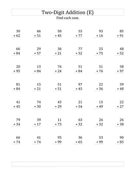 2 Digit Multiplication Worksheets by Free Two Digits Math Worksheets Activity Shelter