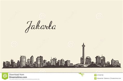 sketchbook jakarta jakarta skyline engraved illustration sketch stock