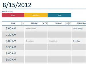 Weekly College Schedule Template by Weekly College Schedule Templates Office