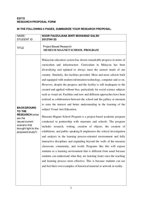 program design grant proposal research proposal museum magnet school program
