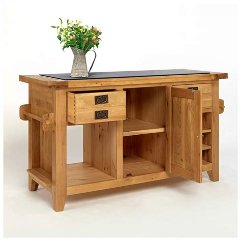 50 rustic oak kitchen island with black granite top