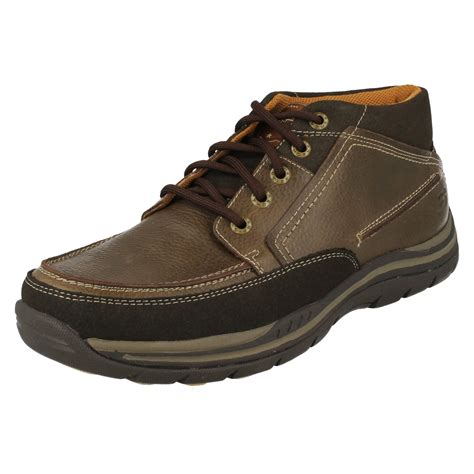 sketchers mens boots mens skechers leather relaxed fit memory foam walking