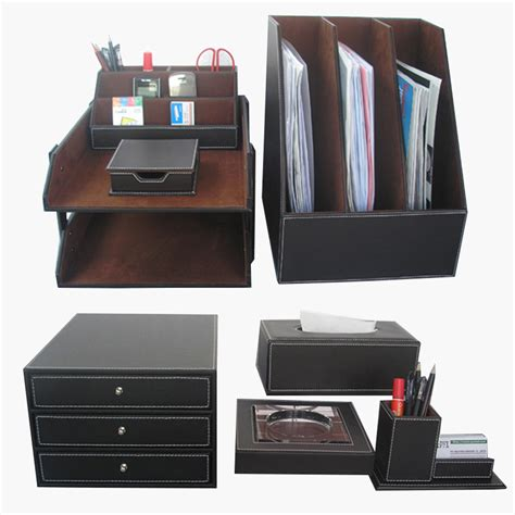 Desk Supply Organizer 8pcs Set Office Desk Set Supplies File Staionery Organizer Cabinet Storage Box Tissue