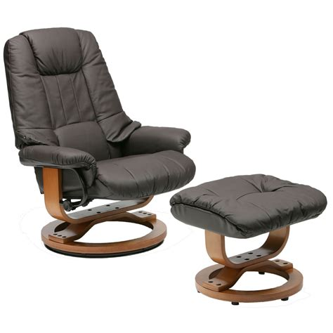 Reclining Leather Chair With Ottoman Leather Swivel Recliner Ottoman Brown Swivel