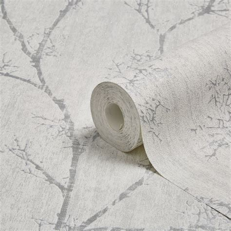 Silver Cisero Silver White graham brown silver white icy trees wallpaper departments diy at b q