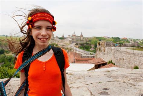 ukranian teen ukrainian teen girl staying outdoors stock photo colourbox