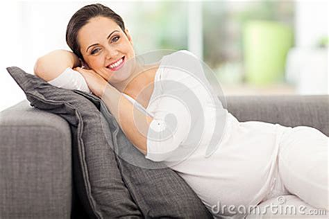 pregnancy couch pregnant woman lying couch stock photography image 33680522