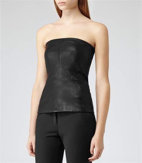 Bustier Tops by Lilibet Black Leather Bustier Top Reiss