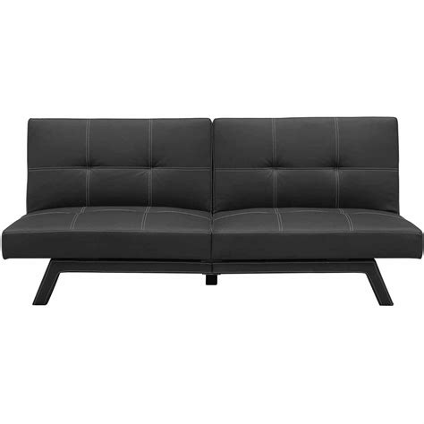 futon black black leather futon