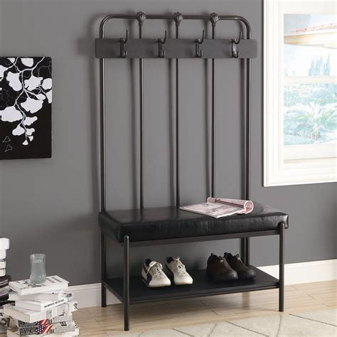 bench and coat rack combo monarch specialties i 454 37 in hall entry bench lowe s