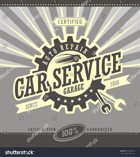 car service ad car service retro banner design concept vintage garage