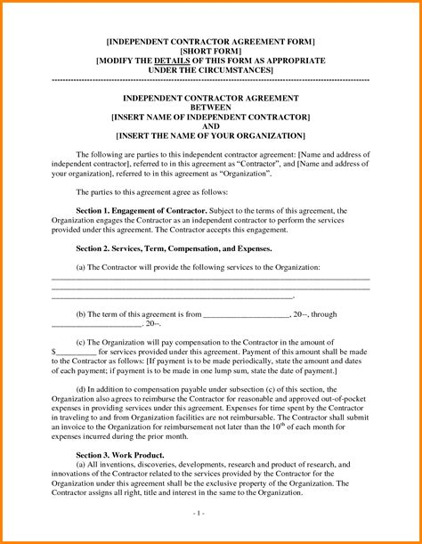 12 independent contractor contract template ledger paper