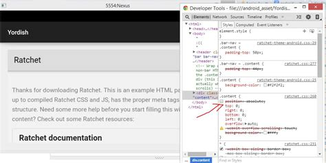 css templates for android css works fine in browser but not in android webview
