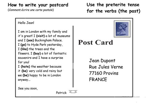 how to make a post card how to write a postcard 2 worksheet free esl