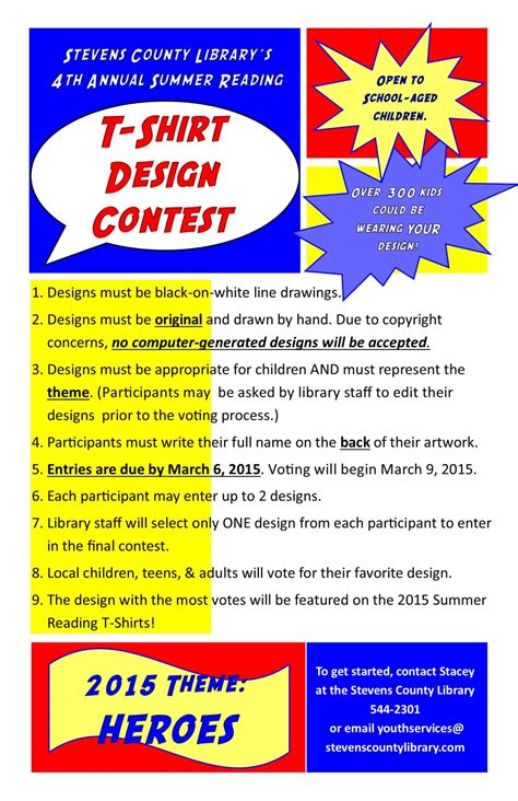 design contest flyer 2015 summer reading t shirt design contest