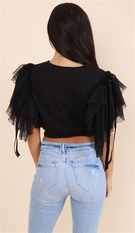 Kazel Ruffle Tshirt Ruffle tshirt ruffle black 2 lola boutique