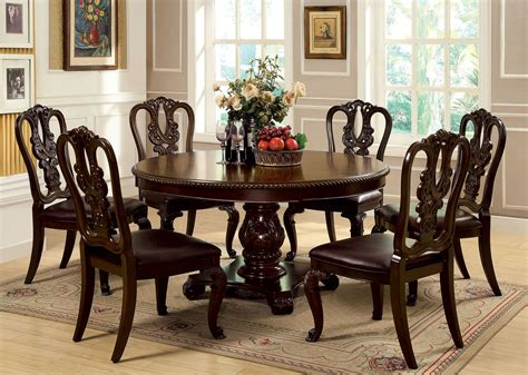 dining room round tables sets bellagio brown cherry round pedestal dining room set from furniture of america cm3319rt table