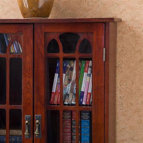 media cabinet wood window pane glass doors storage