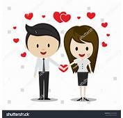 Cute Couple Love Holding Hands Cartoon Stock Vector