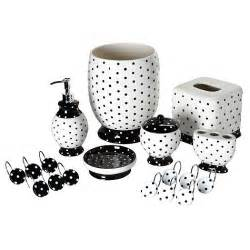 Bathroom Accessories Black And White Black White Polka Dot Bathroom Accessory Tissue Box Wastebasket Towel