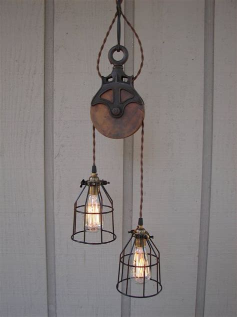 Pulley Light Fixture Reserved For Diane Upcycled Farm Pulley Lighting Pendant With Bulb Cages Farms Offices And