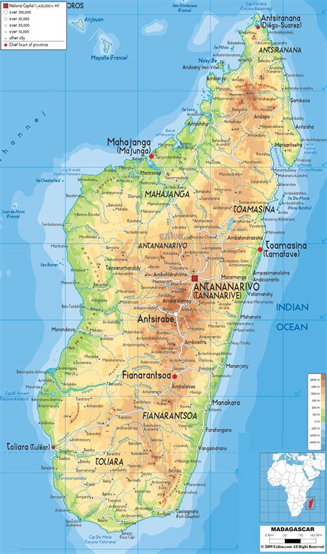 madagascar map physical map of madagascar ezilon maps