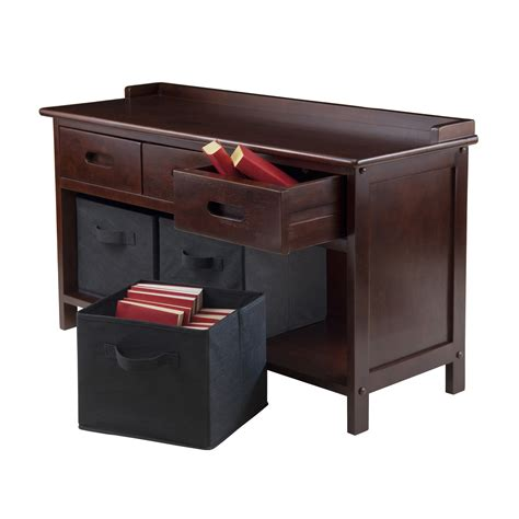 black storage bench with baskets winsome wood adriana collection 4 piece storage bench set