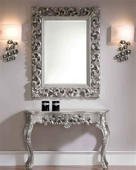 console table and mirror style console table and mirror set in silver 33c31