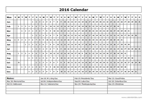2016 yearly calendar template 15l free printable templates