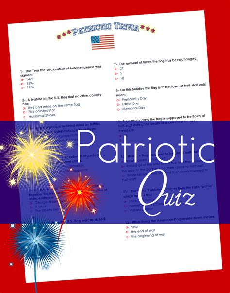 the fourth of july patriot quiz the red headed hostess
