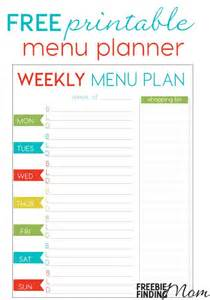 weekly dinner menu planner template free weekly menu planner printable