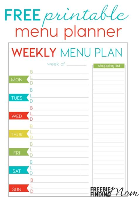 weekly menu planner printable free free weekly menu planner printable freebie finding mom