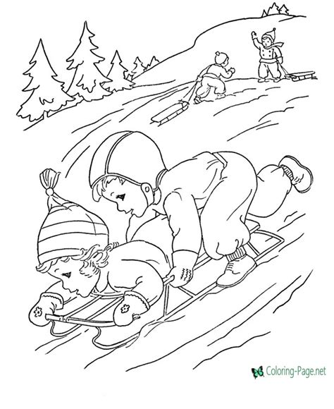 winter sledding printables hubpages winter coloring pages girls sledding downhill