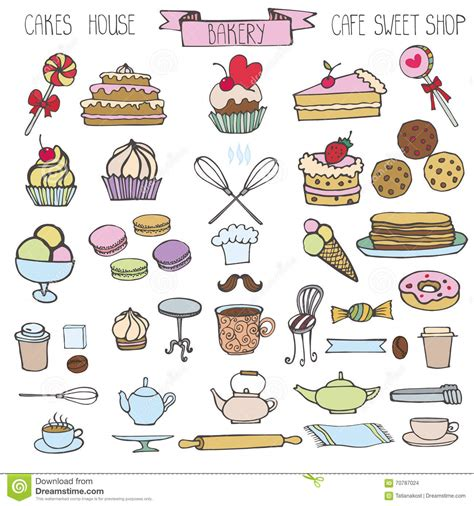 doodle style logo colored doodle icons food set vector illustration