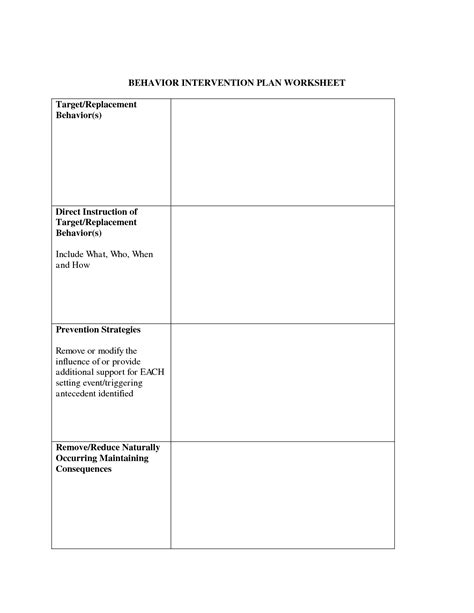 behavior change plan template 16 best images of behavior plan worksheet sle
