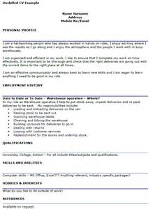 unskilled cv example for workers icover org uk