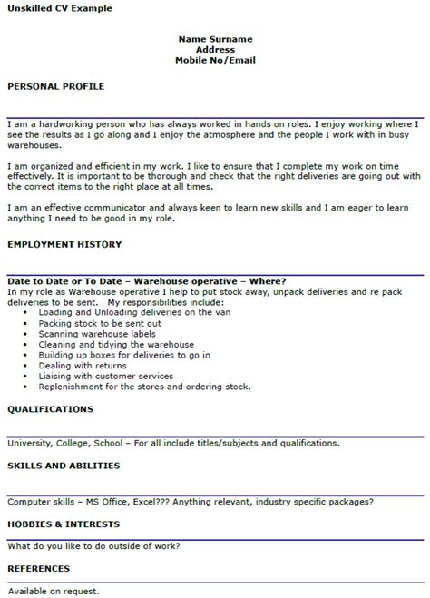 Cv Template For Warehouse Operative Unskilled Cv Exle For Workers Icover Org Uk