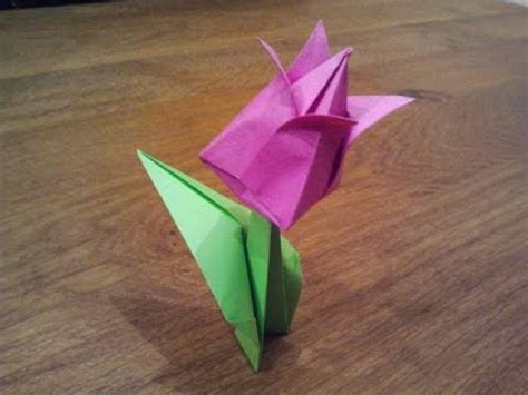 Origami Tulip Flower - how to make an origami tulip flower