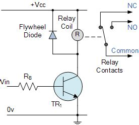 fly wheel diode electrical relay and solid state relays for switching