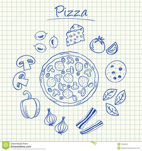 how to make a doodle sign up pizza doodles squared paper stock vector image 31850210