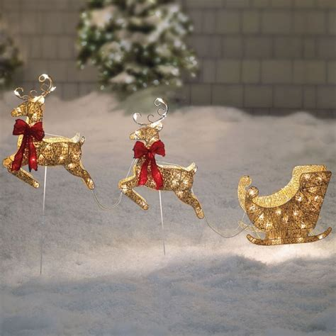 santa sleigh  reindeer gold pre lit holiday christmas outdoor decoration ebay