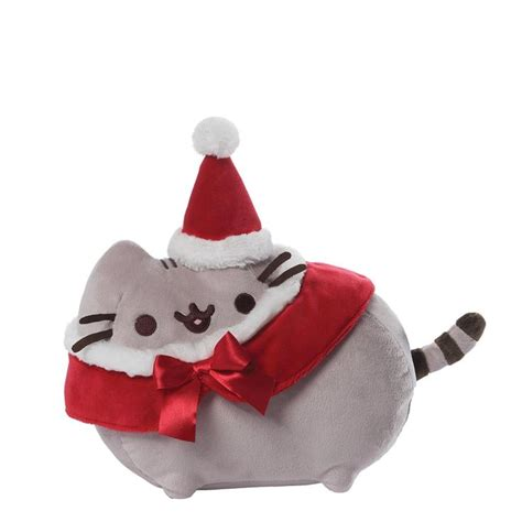 pusheen plush features  cute holiday outfit red santa hat red  white christmas