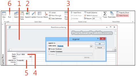 membuat query append cara reset autonumber menggunakan query append di access 2013
