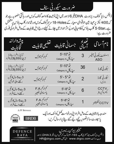 jobs in defence raya golf and country club lahore 6 august